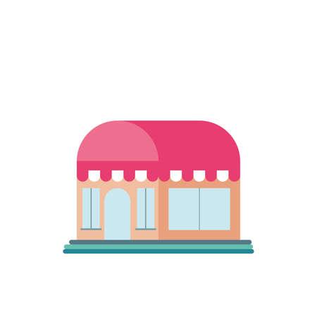 shop front with striped tent in white background vector illustration design Ilustração