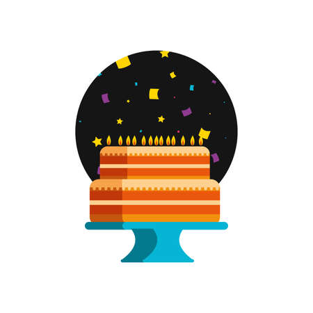 sweet cake of birthday with candles vector illustration design