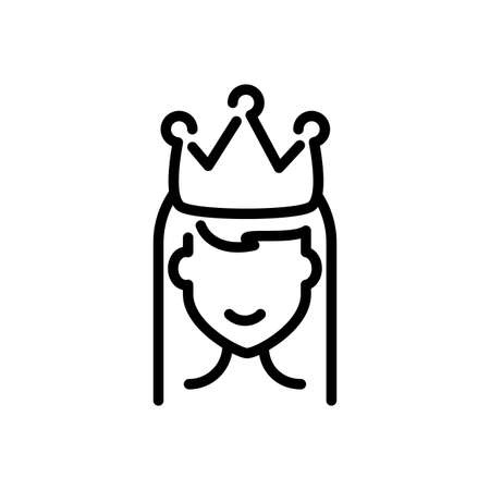 princess with crown over white background, line style icon, vector illustration Çizim