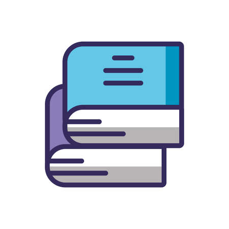 books stack over white background, line and fill style icon, vector illustration