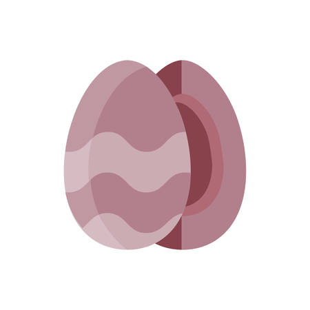 striped easter eggs over white background, flat style icon, vector illustration