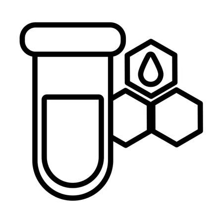 test tube with oil symbol , line style icon vector illustration design