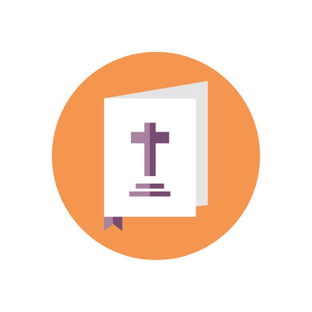 holy bible icon over white background, block style, vector illustration