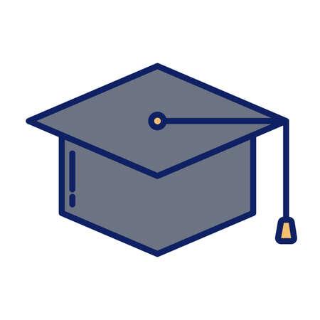 graduation cap, line and fill style icon vector illustration design