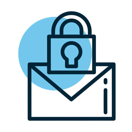 letter with padlock, line style icon vector illustration design 向量圖像