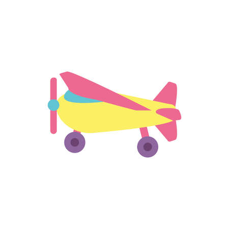 airplane toy design of Childhood play fun kid game gift object little and present theme Vector illustration
