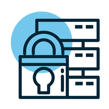 padlock with database, line style icon vector illustration design