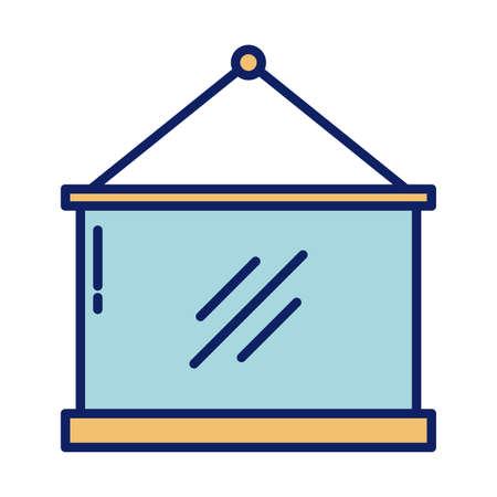 school blackboard, line and fill style icon vector illustration design
