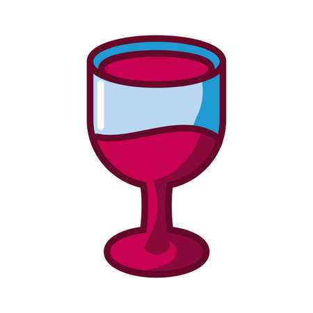 wine glass icon over white background, fill style, vector illustration