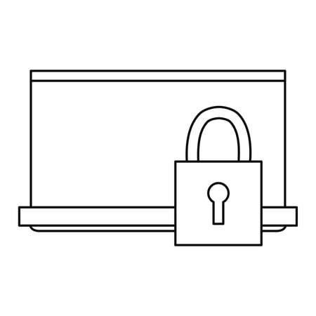 laptop padlock cybersecurity data protection vector illustration outline