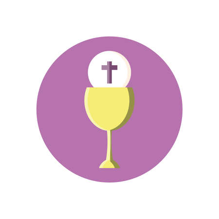 catholic communion wine glass over white background, block style, vector illustration 向量圖像