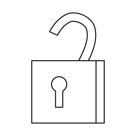 open padlock secuirty protection icon on white background vector illustration outline