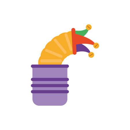 joke box with jester hat over white background, flat style icon, vector illustration