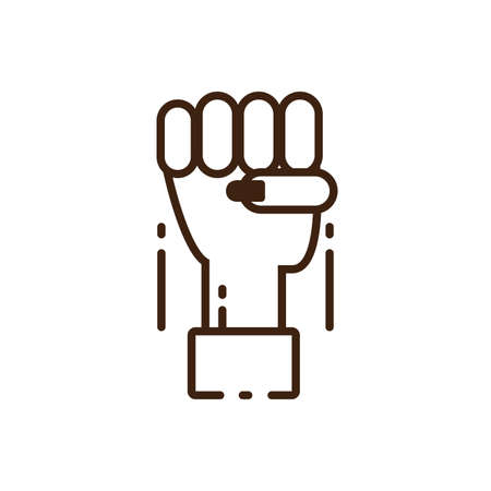 female hand with fist up over white background, colorful line style icon, vector illustration design 向量圖像
