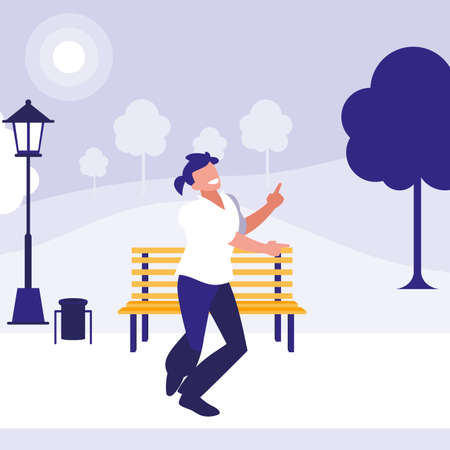 young dancer disco style in the park vector illustration design 向量圖像