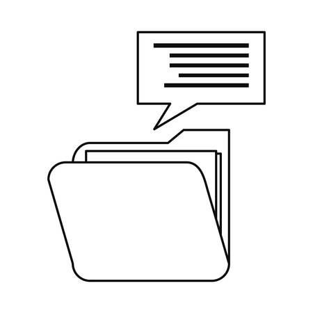 folder speech bubble cybersecurity data protection vector illustration outline
