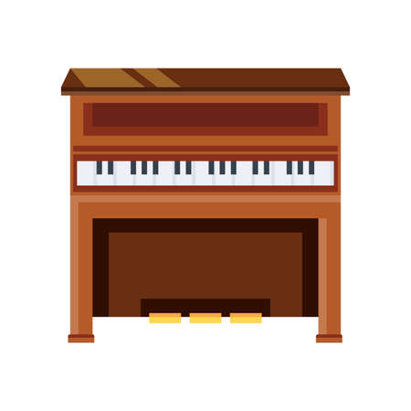 wooden piano on white background vector illustration design