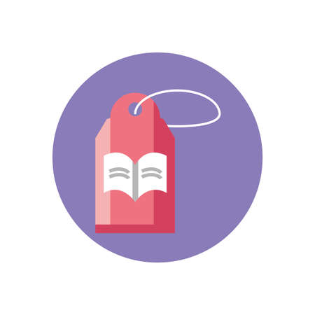 tag with book icon over white background, block style icon, vector illustration