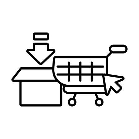 shopping cart, online purchases on white background vector illustration design