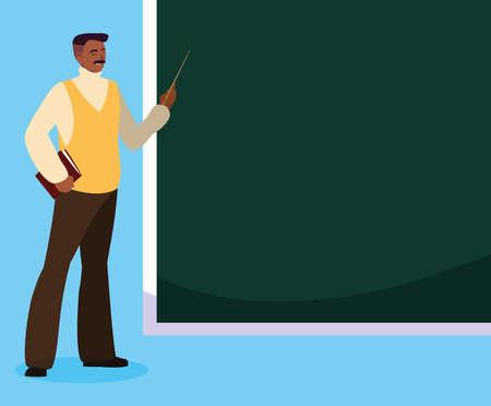 black teacher with chalkboard vector illustration design 向量圖像