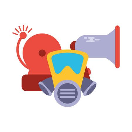 breathing mask with alarm and megaphone on white background vector illustration design 向量圖像