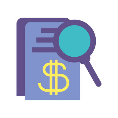 magnifying glass with document on white background vector illustration design