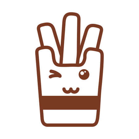 french fries , line style icon vector illustration design