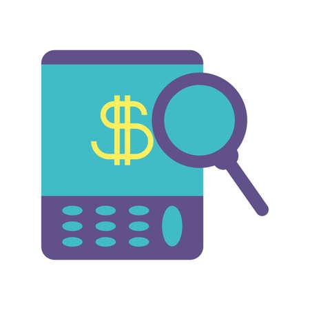 portable calculator on white background vector illustration design