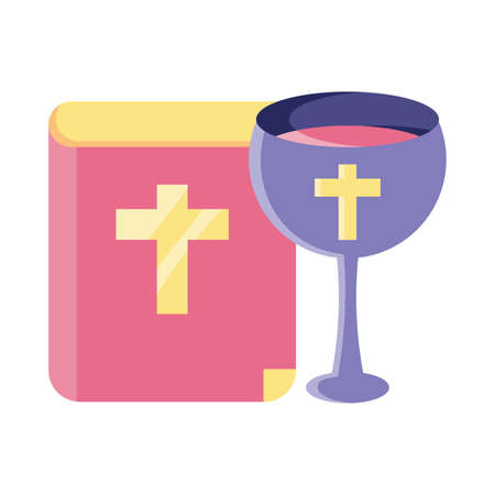 catholic bible with a glass of wine on white background vector illustration design
