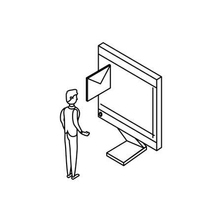 businessman worker with envelope and computer vector illustration design
