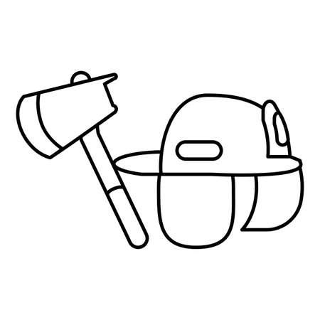 fireman helmet with ax on white background vector illustration design