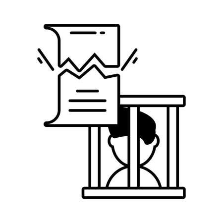 man in prison on white background vector illustration design Ilustração