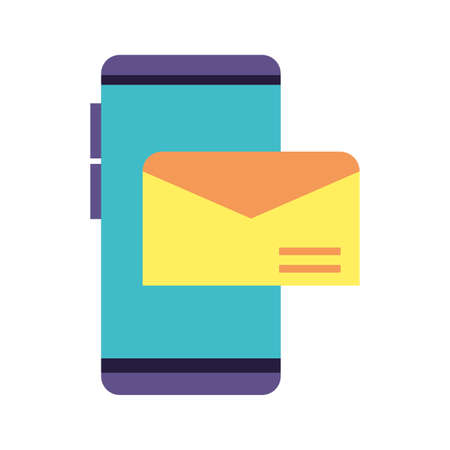 smartphone screen with envelope closed on white background vector illustration design