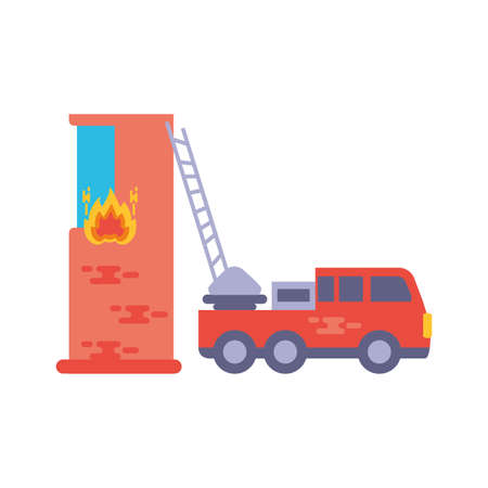 fire truck with building in white background vector illustration design Stock Illustratie