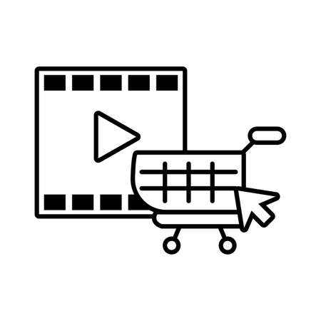 media player frame with play button on white background vector illustration design  イラスト・ベクター素材
