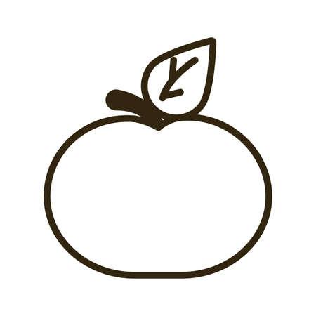 tangerine on white background, line style icon vector illustration design