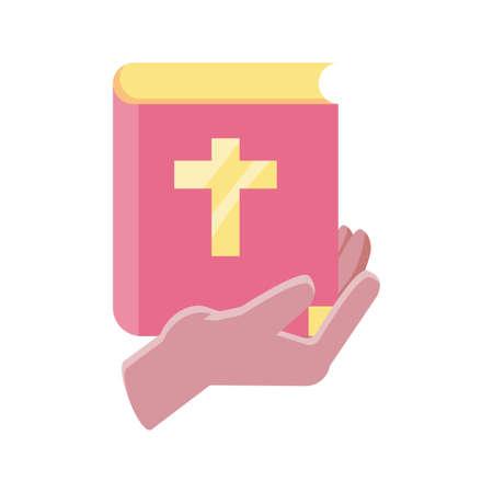 hands holding an catholic bible on white background vector illustration design Illustration