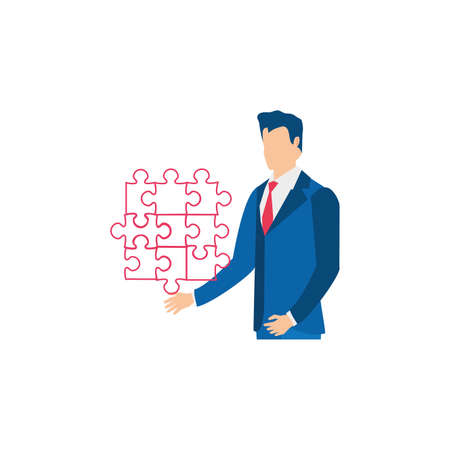 businessman with puzzle pieces isolated icon vector illustration design 向量圖像