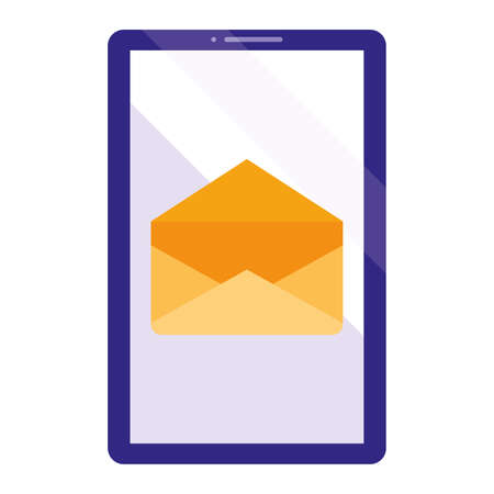 smartphone device with envelope vector illustration design 向量圖像