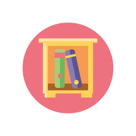 drawer with books icon over white background, colorful block style, vector illustration