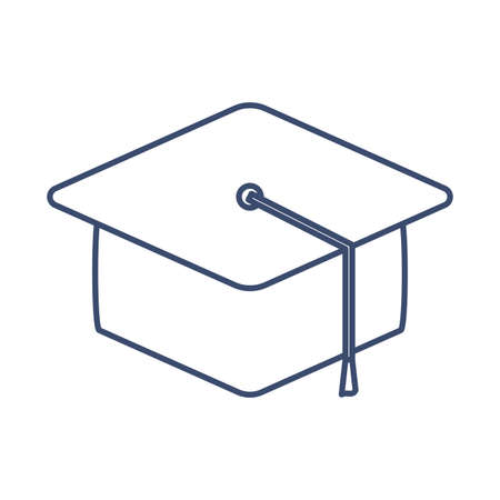 graduation cap , line style icon vector illustration design