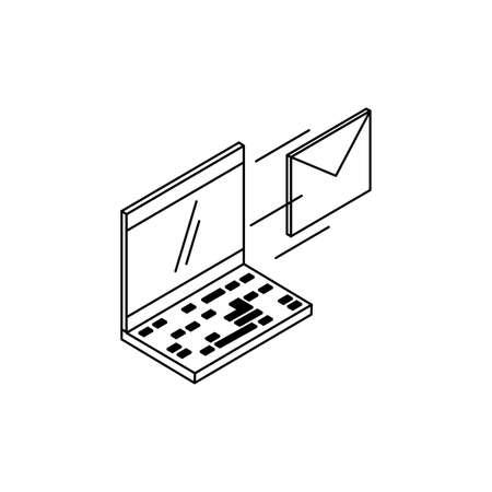 laptop computer with envelope mail vector illustration design