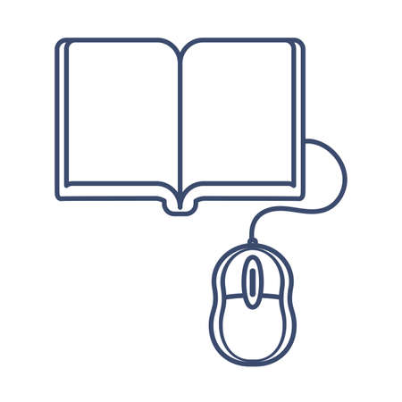 book and computer mouse, online education, line style icon vector illustration design