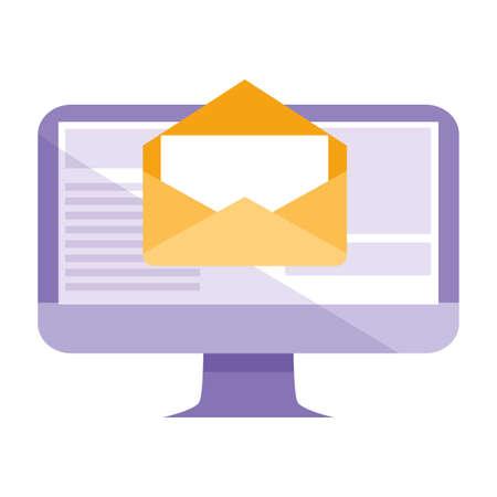 computer desktop with envelope email vector illustration design