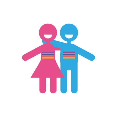 Avatar woman and man of zero discrimination day, flat style icon vector illustration design