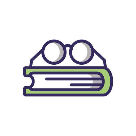 glasses and book over white background, line and fill style icon, vector illustration