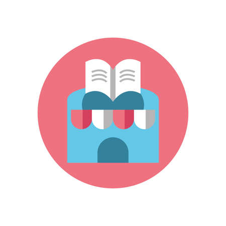 books store over white background, block style icon, vector illustration 向量圖像