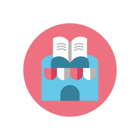books store over white background, block style icon, vector illustration Illustration