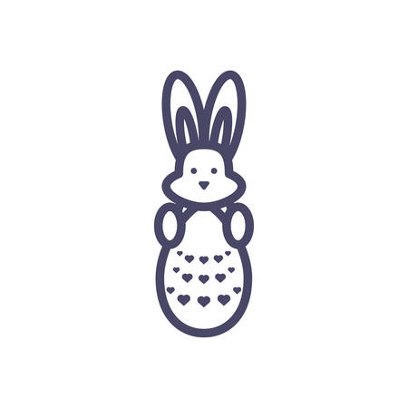 cute bunny with easter egg over white background, line style, vector illustration
