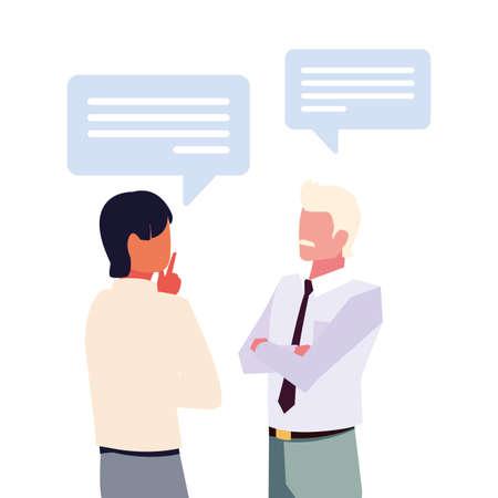 businessmen with speech bubble on white background vector illustration design